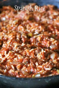 Spanish Rice with ground beef, tomatoes and rice makes an easy weeknight dinner.: