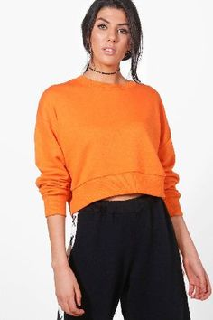 #boohoo Oversized Slouchy Crop Sweatshirt - orange #Harriet Oversized Slouchy Crop Sweatshirt - orange