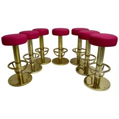 Set of Seven Brass Barstools with Pink Seat, 1960s 1