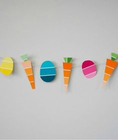 Easy & Creative Easter Crafts - Carrot Easter Garland using paint chips! Genius!