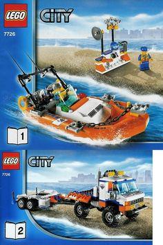LEGO set database: Coast Guard Truck with Speed Boat Lego Ecto 1, Legos, Easy Lego Creations, Lego Coast Guard, Jurassic Park Jeep, Best Lego Sets, Lego Boat, Lego Truck, Speed Boats