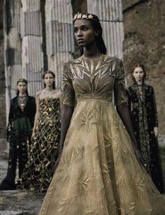 Leila Nda in 'Valentino Haute Couture by  Fabrizio Ferri forVogue Italia September 2015.