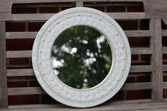 Round Mosaic Mirror  White on White by SeabrookMosaics on Etsy
