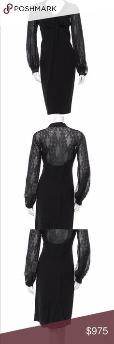 """VALENTINO Black Long Lace Sleeve Sheath Dress 10 Peplum Hem Sheath Dress with Long Lace Sleeves & Necktie. Hidden side seam zipper closure. Satin single-button cuffs. 61% Viscose, 39% Acetate. Lining - 100% Polyester. Bust - 37"""" / Waist - 31"""" / Hips - 40"""" / Length - 39"""" Made in Italy. BRAND NEW WITH TAGS. Please Note: merchant tag reflects the initial discounted price of $5,043.00. •SKU CG-1605-030X-EP• Valentino Dresses Midi"""