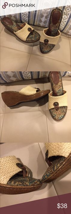 """Thong sandals Born sandals.  Print inside. Basket weave top.    Says sz 8.  But must be narrow.   3"""" wooden heel.  2 1/2"""" opening.  The wood is in great shape. Born Shoes Sandals"""