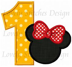 Minnie Mouse Number 1 Applique Machine by LovelyStitchesDesign