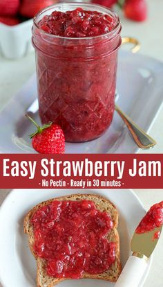 Easy Strawberry Jam filled with fragrant fresh vanilla bean. Everyone loves this recipe - no pectin needed, perfect Strawberry Jam in 30 minutes. #jam #strawberries #strawberry #homemade #vanilla #vanillabean