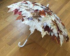 Fall Foliage Umbrella Autumn Leaves Umbrella Made to Order Floral Umbrellas, Umbrellas Parasols, Umbrella Decorations, Yellow Umbrella, Umbrella Wedding, Bride Accessories, Deco Table, Fall Crafts, Autumn Leaves