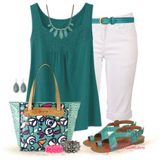 Weekend chic working mom outfit idea: Bermuda shorts and turquoise accents. #outfitidea #workmoms [http://www.franticbutfabulous.com/2013/06/07/working-mom-outfit-idea-bermudas-and-turquoise/?utm_medium=social_media_campaign=FBFsocial]