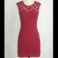 Ruby red sheath dress. Make an offer!! Ruby Red sheath Modcloth dress. Floral overlay, beautiful back cutout! 98% nylon. Form-fitting. Very stretchy material. Fully lined except the very top! ModCloth Dresses