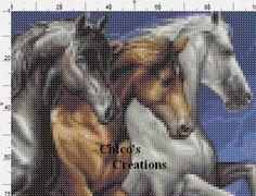Three Horses Cross Stitch Pattern A195