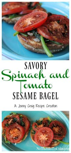 Jenny Craig Recipe Creation: Savory Spinach & Tomato Sesame Bagel