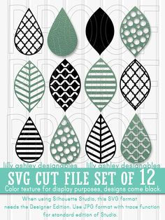 SVG Files set of 12 cutting files SVG/PNG/jpg Teardrop svg
