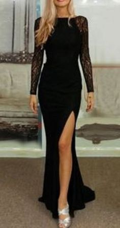 Elegant Slash Neck Long Sleeve Lace Splicing High Slit Women's Black Dress.