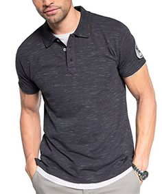 ESPRIT Herren Poloshirt aus Baumwoll Piqué, Gr. Medium, Blau (NAVY 400)