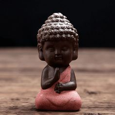 Handpainted Ceramic Little Buddha Figurine Red Buddha Statue