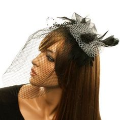 Feathers Veil Hat Fascinator Brooch Clip Head Piece Cocktail Hat Black White,$19.95 #Fascinator #Hats