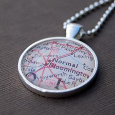 Bloomington Normal - Illinois State University - Map Necklace Pendant!  My hometown!! <3 Just found this on Etsy!  @Karen Chiodo @Nina Chiodo