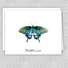 Personalized Note Cards, Butterfly Personalized Stationery, Set of 10 Folded Note Cards Personalized Note Cards, Personalized Stationery, Small Letters, Tree Silhouette, Tree Print, Stationery Set, White Envelopes, Card Stock, Great Gifts