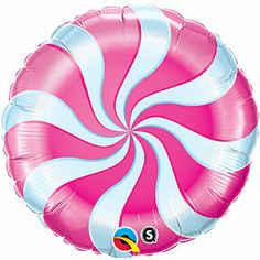 """2-18"""" BALLOONS swirl PINK PEPPERMINT hard CANDY land WONKA party SWEET 16 theme"""