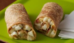 This would be good for daycare snack minus the peanut butter. Apple Wraps- These crunchy wraps are perfect for a quick afterschool snack Breakfast Dessert, Dessert For Dinner, Healthy Afterschool Snacks, After School Snacks, School Lunches, Special Recipes, Nutrition Education, Kids Meals, Kitchens