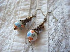Earrings ポリマークレイのカラフル花柄ビーズのピアスハンドメイド インテリア 雑貨 Handmade ¥700yen 〆08月30日