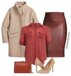 Plus Size Meghan Markle Inspired Outfit Idea with faux leather skirt - Alexa Webb Fall Fashion Trends, Autumn Fashion, Fashion Bloggers, Faux Leather Skirt, Leather Skirts, Leather Leggings, Plus Size Looks, Meghan Markle Style, Curvy Petite Fashion