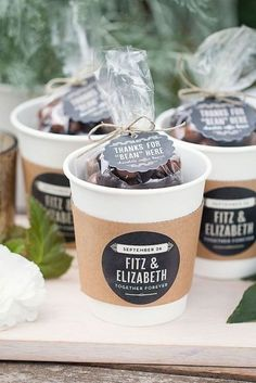 Wedding Gifts For Guests 21 DIY Winter Wedding Favors for Guests to Cozy Up To via Brit Co Wedding Favors And Gifts, Coffee Wedding Favors, Winter Wedding Favors, Creative Wedding Favors, Brunch Wedding, Wedding Ideas, Trendy Wedding, Wedding Unique, Coffee Favors