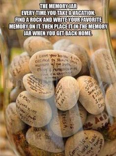 The Memory Jar Every Time You Take a Vacation. Find a Rock and Write Your Favori… The Memory Jar Every Time You Take a Vacation. Find a Rock and Write Your Favorite Memory on it, Then Place it In the Memory Jar When You Get Back Home. Vacation Memories, Travel Memories, Memories Jar, Family Memories, Magic Memories, Deco Scrabble, Diys, Family Kids, Wedding Guest Book