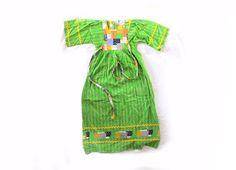 vintage dress girl hippie 1970s children kelly green ric rac patchwork by diaphanousvintage
