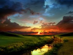17. In this image artist use atmospheric perspective, vanishing point and complementary colors. Background looks blurry and blue in color shows atmospheric perspective, at the end of horizontal line of water shows vanishing point and orange, green, blue colors show complimentary colors.  Artist use this image to creates sun set and cool atmosphere.