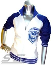 Price: $89.00 White Zeta Phi Beta track jacket with royal blue sleeves. An over-sized Zeta Phi Beta sorority crest is embroidered over the heart