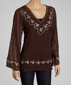 Look at this Destiny Made in the USA Brown Embroidered V-Neck Top - Women on #zulily today!