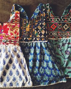 bohemian baby dresses of vintage banjara fabric bibs and vegetable dyed organic cotton skirts