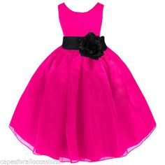 NEW FUCHSIA PINK BLACK WEDDING ORGANZA FLOWER GIRL DRESS 12-18m 2/3T 4/5T 6 8 10 in Clothing, Shoes & Accessories, Wedding & Formal Occasion, Girls' Formal Occasion   eBay