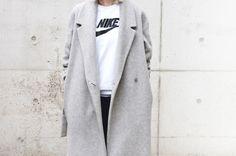 sporty tshirt under coat