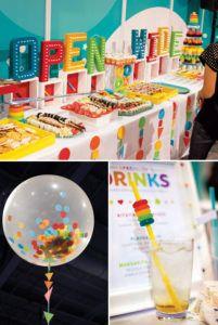 rainbow cocktail party decor