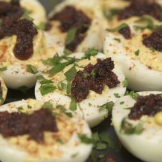 Laz makes one of his favorite party foods - deviled eggs. They're spicy, savory and have just the right amount of chorizo pizazz!