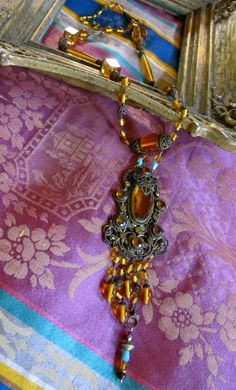 Vintage Art Deco Czech Amber Faceted Glass w Filigree by taffnie