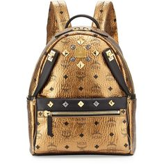 MCM Dual Stark Small Backpack ($900) ❤ liked on Polyvore featuring bags, backpacks, mcm, gold, backpack pouch, brown leather backpack, brown bag and strap backpack