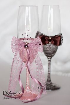 Soft pink champagne glass / LACE / toasting flutes by DiAmoreDS