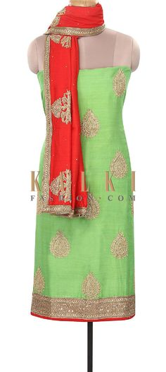 Buy Online from the link below. We ship worldwide (Free Shipping over US$100). Product SKU - 316075. Product Price - $289.00. Product Link - http://www.kalkifashion.com/green-unstitched-suit-embellished-in-zari-only-on-kalki.html