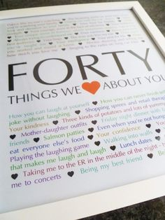 40 Things We {Love} About You — The perfect homemade gift for a milestone birthday. #40birthday #40thbirthdaygifts #diy40thbirthdaygifts #diybirthdaygifts #40thbirthdaygiftsforfriend | thishappymommy.com