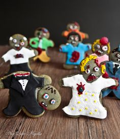 The Walking Dead Zombie Cookies @ Not Quite Nigella Zombie Cookies, Halloween Cookies, Halloween Treats, Fall Halloween, Halloween Party, Holiday Treats, Zombie Party, Dead Zombie, Cupcake Cookies