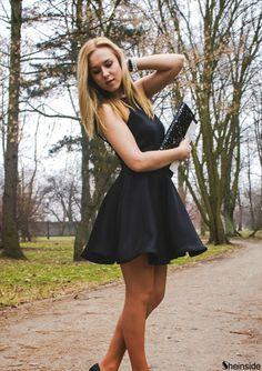 Black Halter Backless Flare Dress