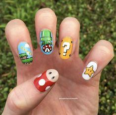 Mario Nail Art by Crazy Nail Art, Crazy Nails, Dope Nails, Fun Nails, Kawaii Nail Art, Cute Nail Art, Nail Art Diy, Halloween Acrylic Nails, Cute Acrylic Nails