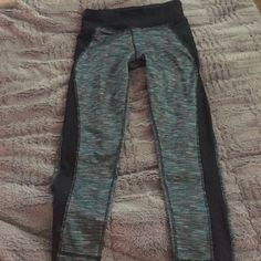 Stylish workout capris Fun and unique green/grey/black pattern Capri length workout pants. Warn once! (too small for me) RBX Pants Track Pants & Joggers