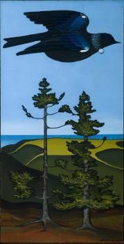 "Don Binney, ""Tui Over Kauri"", oil & acrylic on board Auckland Art Gallery, NZ. Colorado Springs, Auckland Art Gallery, School Murals, New Zealand Art, Nz Art, Maori Art, Kiwiana, Landscape Artwork, Contemporary Artwork"