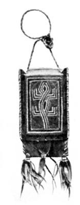 Hausa-made purse of goat-skin, with a pattern of crocodile or lizard in stitches of leather.