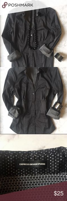 EXPRESS DESIGN STUDIO BUTTON DOWN TOP NWOT! EXPRESS Design Studio Black Long Sleeve Button Down Top. Has tiny white detailing on it. Wear it casually with a pair of jeans or dress it up with nice black slacks and heels. 47% cotton 25% nylon 24% polyester 4% spandex. Size S/M. Express Tops Button Down Shirts